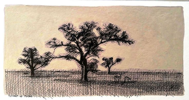 Title: Kgalagadi:  Polentswa (Springbucks) Medium: Pen-and-Ink drawing on Hahnemühle Cotton paper with oil paint background Size: : 400 x 210mm Artists thoughts: I enjoy drawing thorn trees from desert areas:  Acasia and Camel Thorn trees. ( Our family often visits the Kalahari desert for holidays.) The pen-and-ink medium links well with the thorny subject matter.  The thorns reminds me that Jesus is crowned as King.