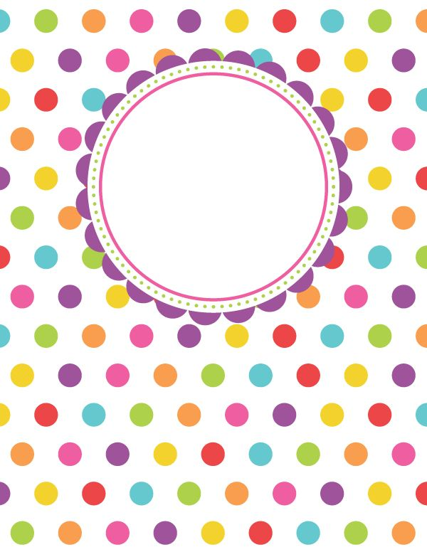 Free printable polka dot binder cover template. Download the cover in JPG or PDF format at http://bindercovers.net/download/polka-dot-binder-cover/ More