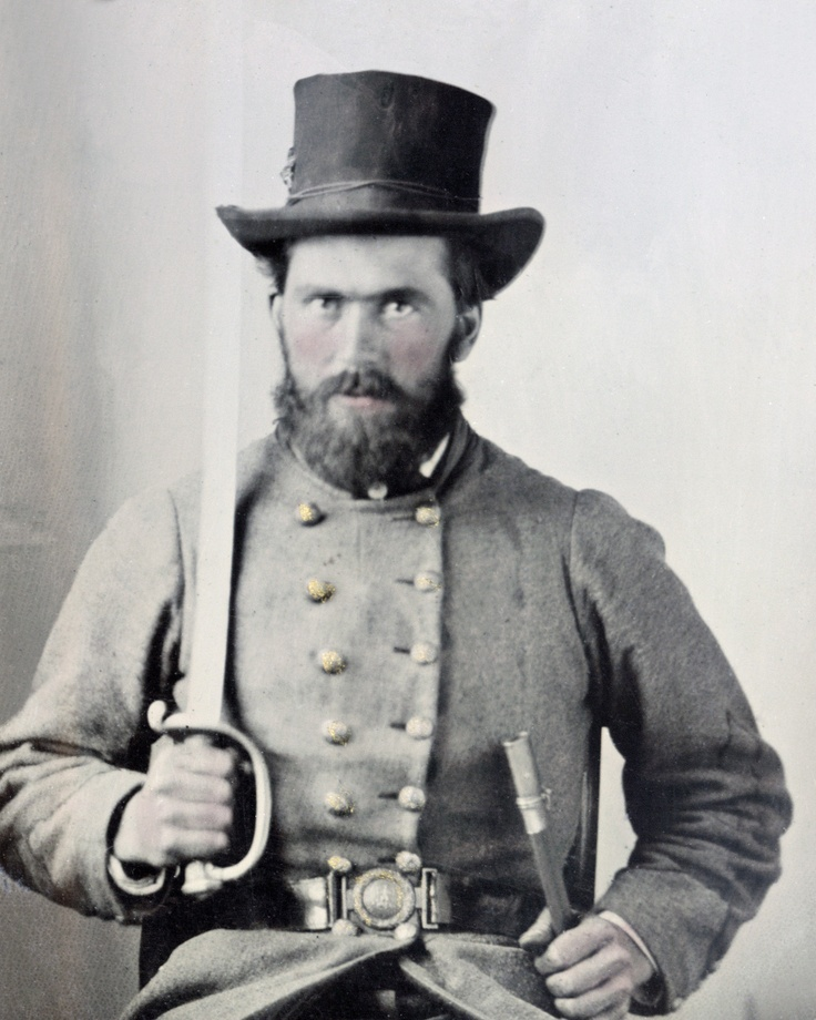 Confederate Soldier Wearing A Top Hat with His Uniform
