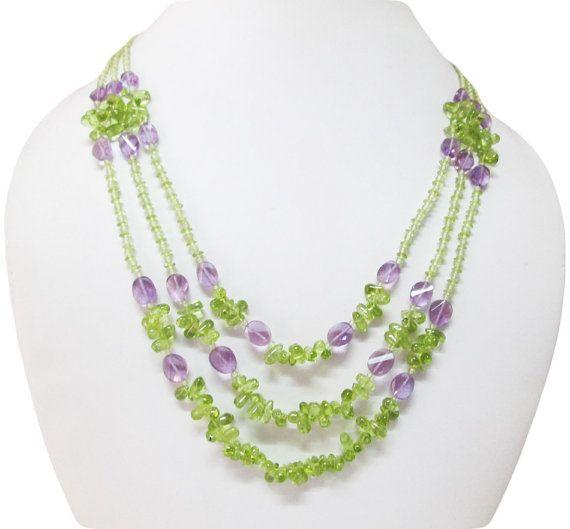 Peridot & Amethyst beads necklace,Beaded necklace,Jewellery,Mala beads,Gift ideas,Handmade necklace,Amethyst necklace,Peridot necklace,Beads