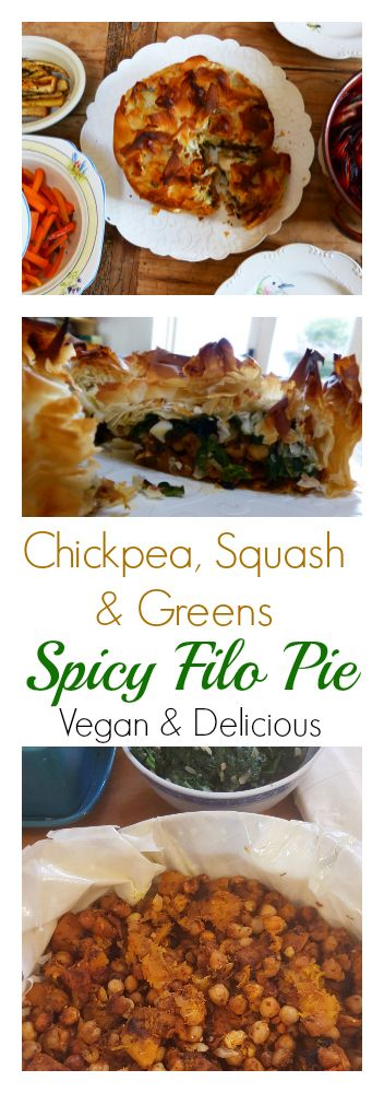 An easy yet impressive Chickpea, Butternut Squash and Spinach pie recipe that has a hint of chilli and spices. 100% vegan and perfect as part of a lunch or dinner. Even the meat eaters will be impressed and come back for second helpings! #vegan #recipe #chickpea