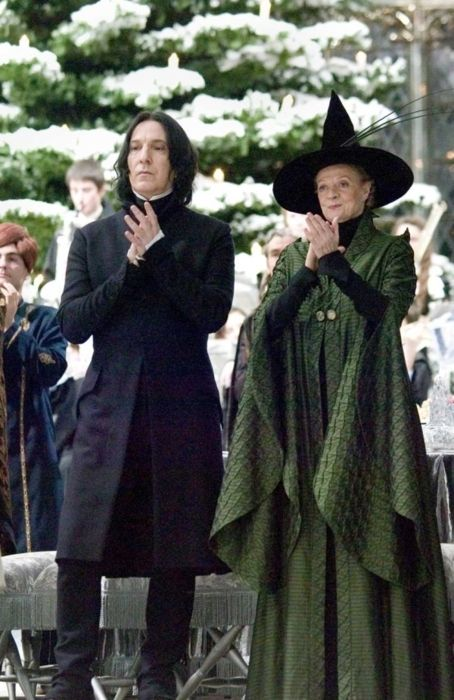 "2005 - Alan Rickman (Snape) and Maggie Smith (McGonagall). They played those characters in all 8 of the Harry Potter movies. This photo is from ""Harry Potter and the Goblet of Fire,"" I believe."