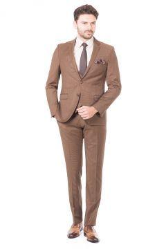 Toss Erkek Extra Slim Fit 6 Drop Klasik Yelekli Takım Elbise - Camel