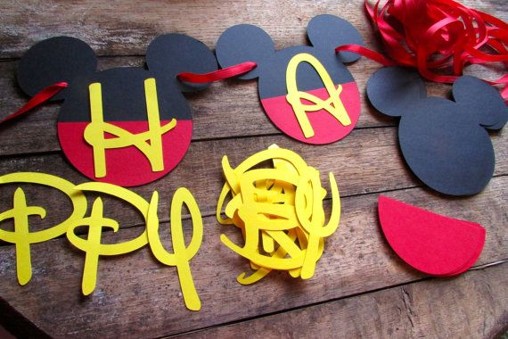 DIY Birthday Banner Mickey Mouse inspired by PurpleZebraPaperCo