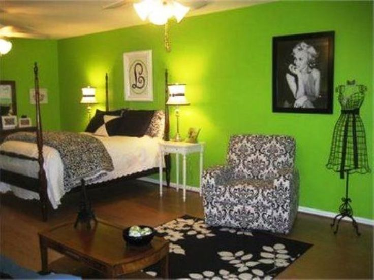 Accessories U0026 Furniture, Fascinating Green Wall Paint Teenage Girl Bedroom  Design Ideas With Cool Canopy Bed On Combined Soft White Mattress And Cozy  Black ...