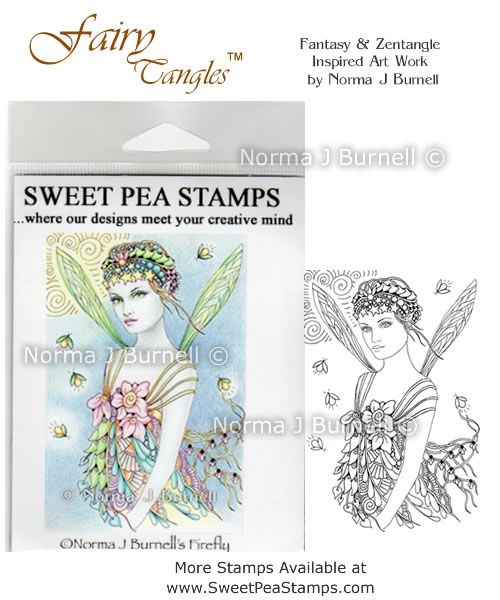 """New release Rubber Stamp for crafting: """"Firefly"""" available at https://www.etsy.com/shop/FairyTangleArt  or at http://sweetpeastamps.com"""