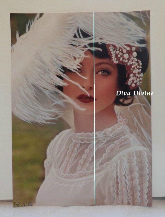 Peinture Pastel Sec pour Tableau Romantique, Portrait ° EVE - PEINT A LA MAIN