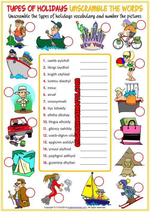 Holiday Types ESL Printable Vocabulary Worksheets