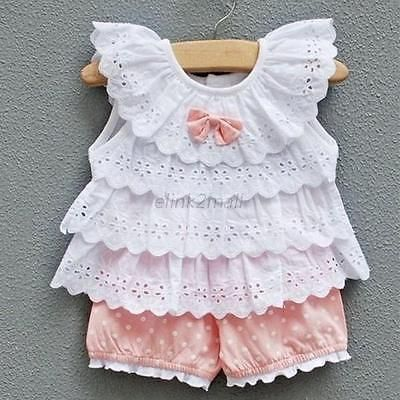 Infant Baby Girl Costume Ruffled T-shirt Tops+Dots Pants 2pcs Outfits Suits 0-2Y