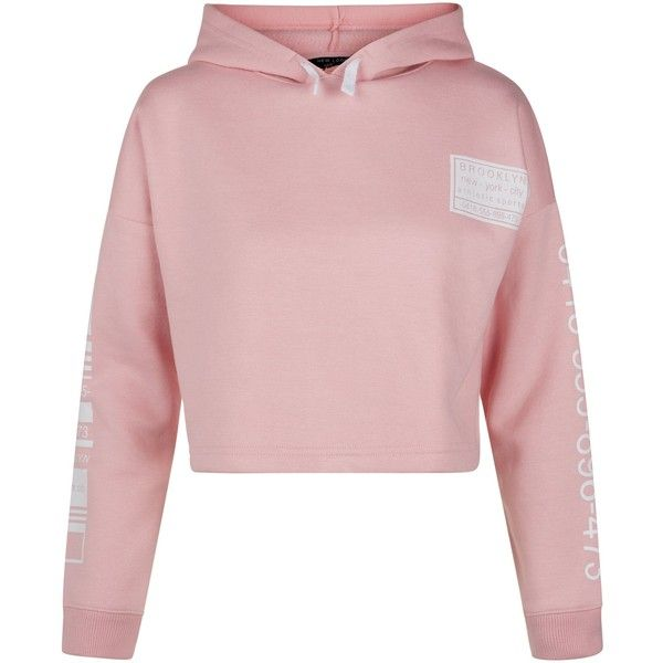 New Look Teens Pink Brooklyn Print Cropped Hoodie (£16) ❤ liked on Polyvore featuring tops, hoodies, crop top, pink, cropped hoodies, pink hoodies, hoodie top, cropped hooded sweatshirt and pink top