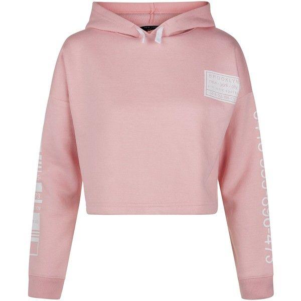 New Look Teens Pink Brooklyn Print Cropped Hoodie (£16) ❤ liked on Polyvore featuring tops, hoodies, pink, crop top, cloths, pink hoodie, cropped hoodies, hoodie crop top and sweatshirt hoodies