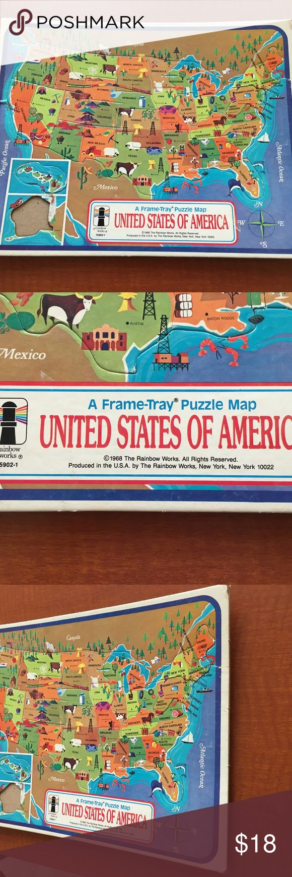 RARE 1968 United States of America Map VTG Puzzle RARE 1968 United States of America Map Vintage Frame-Tray Puzzle -Rainbow Works  VINTAGE 1968 USA MAP PUZZLE TRAY FRAME-TRAY  THIS WAS MINE GROWING UP.  IT HAS BEEN IN A BOX FOR MANY YEARS.  IN OVERALL GOOD CONDITION - IT IS JUST MISSING ALASKA!!!!  MINE IS THEREFORE UNUSUAL!!!  COMES FROM SMOKE FREE AND PET FREE ENVIRONMENT!!! Other