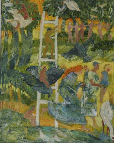 """Og nu er Grethe Tranbergs """"Stigen"""" kommet op på væggen i Herning, som et fint symbol på alle de forandringer, som vi skal igennem i livet."""