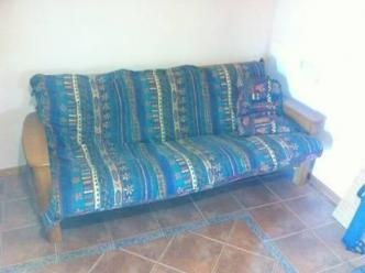 Double Futon/sofa bed for sale. Solid timber frame in good condition. Selling as am moving and dont have the room.    Price: $250.00