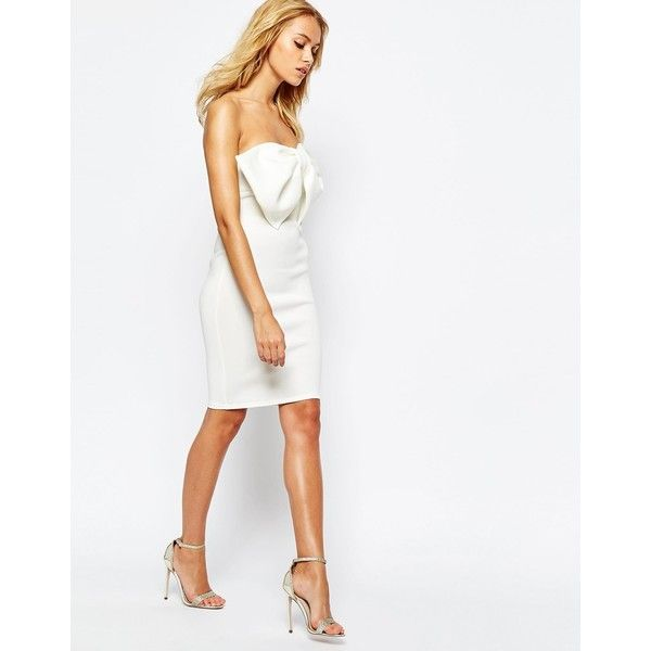 Boohoo Bow Front Strapless White Dress (93 BRL) ❤ liked on Polyvore featuring dresses, bow front dress, strapless dresses, white strapless dress, white dress and white color dress