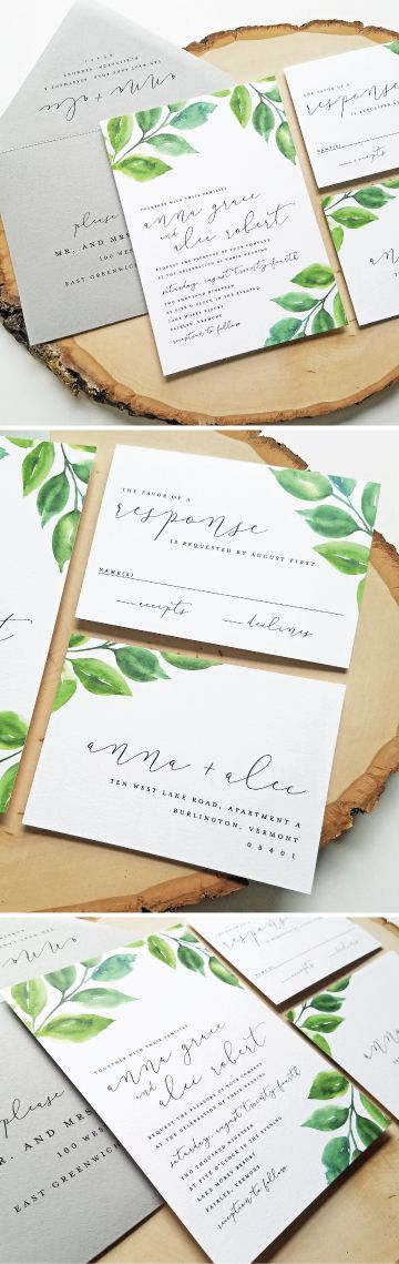NEW Anna Watercolor Greenery Wedding Invitation Sample   Modern Calligraphy  Script, Watercolor Leaves, Woodland