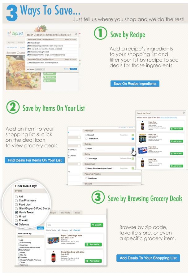 3 Ways To Save With ZipList Grocery Deals - Start Saving Here http://www.ziplist.com/deals