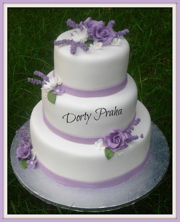 Svatební dort levandulový , Svatební dorty | Dorty od mamy