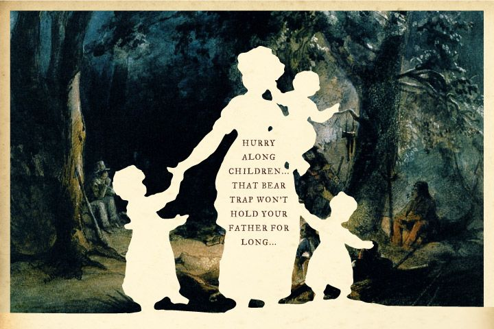 Hurry Along Children silhouette art by Wilhelm Staehle