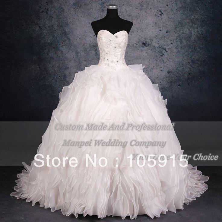 2013 королевский фактическая белый вышивка повязка с хрустальные плиссе бальное платье свадебные платья свадебные платья из органзы HK-37