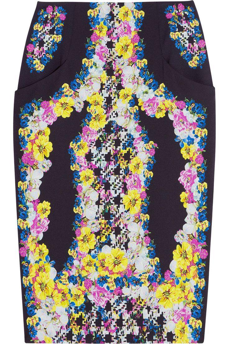 Erdem - Frida printed silk-crepe pencil skirt