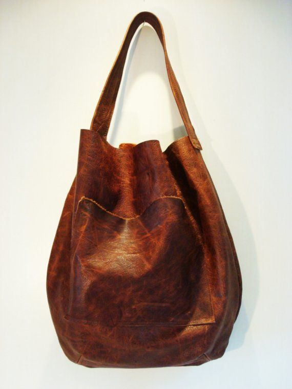 Leather Hobo Handbag Vintage Leather Brown Womens by VintageChase