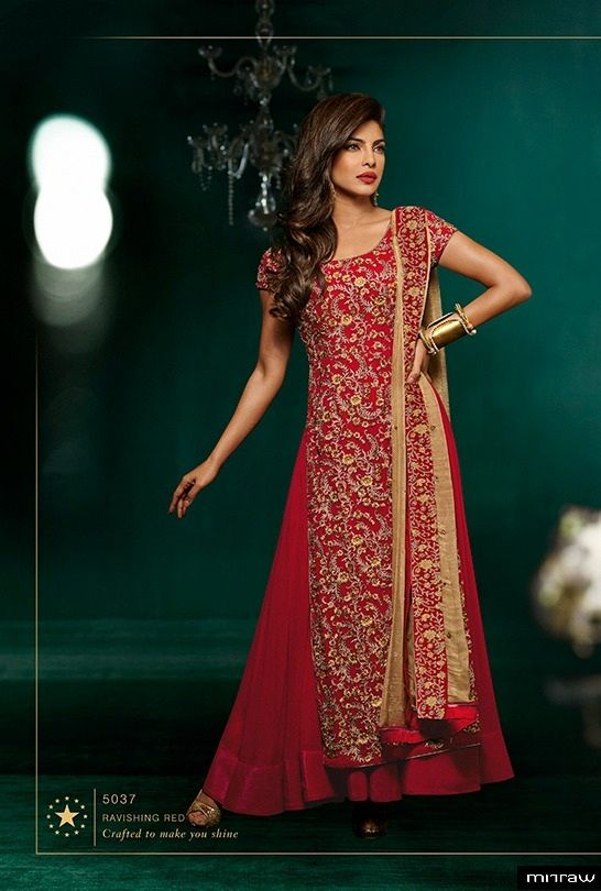 Priyanka chopra in red anarkali suit