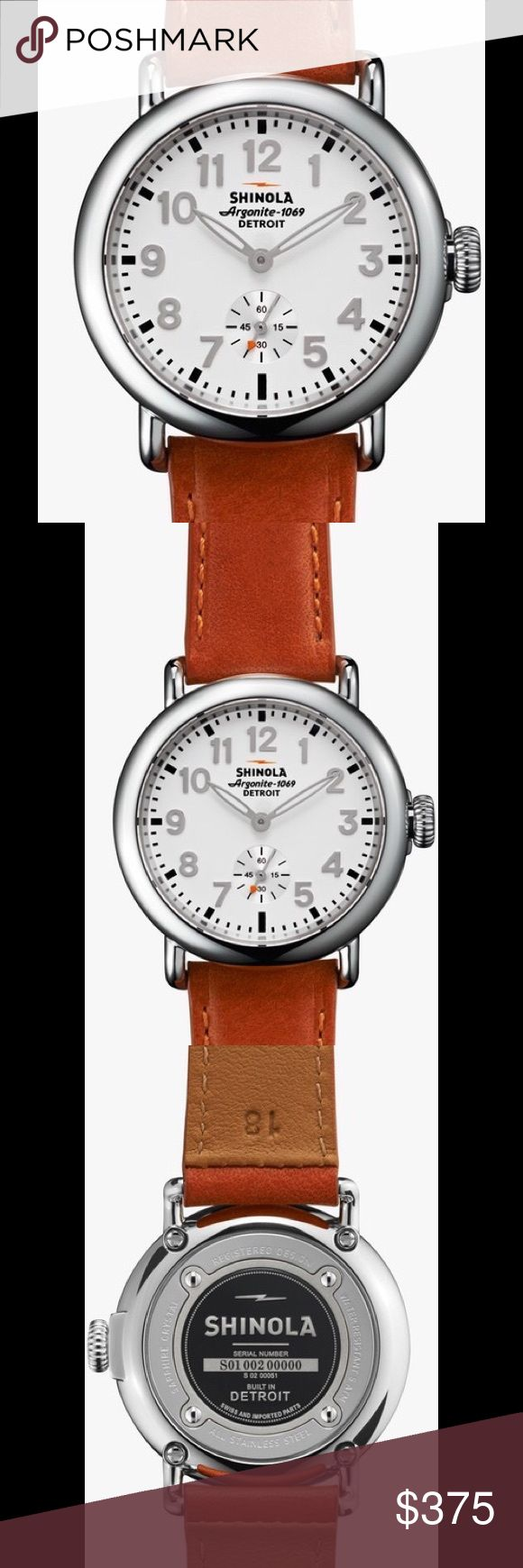 Shinola Runwell 36m Watch White Dial Leather Strap 2 DAY SALE ! Runwell watch by Shinola. 36mm stainless steel case. Premium American-made leather strap. Double curve sapphire window. Round dial with Arabic numerals and luminous hands. Shinola Detroit-built Argonite 1069 quartz movement with Swiss parts. Water resistant up to 50 meters (5ATM/160 ft.). Handmade in Detroit from Swiss-made parts. Price firm. Shinola Accessories Watches