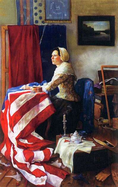 Painting of Betsy Ross making our original   American Flag