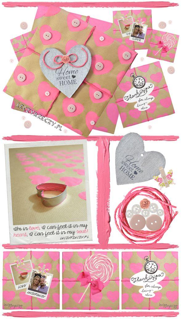 MORE - www.leczyrzeczy.pl/    Valentine's Day, gift wrapping, cute ideas, hearts, pink, bow, walentynki, prezent, pakowanie, diy, do it yourself,