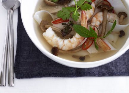 Hot and sour prawn, chicken and noodle soup recipe - 9Kitchen