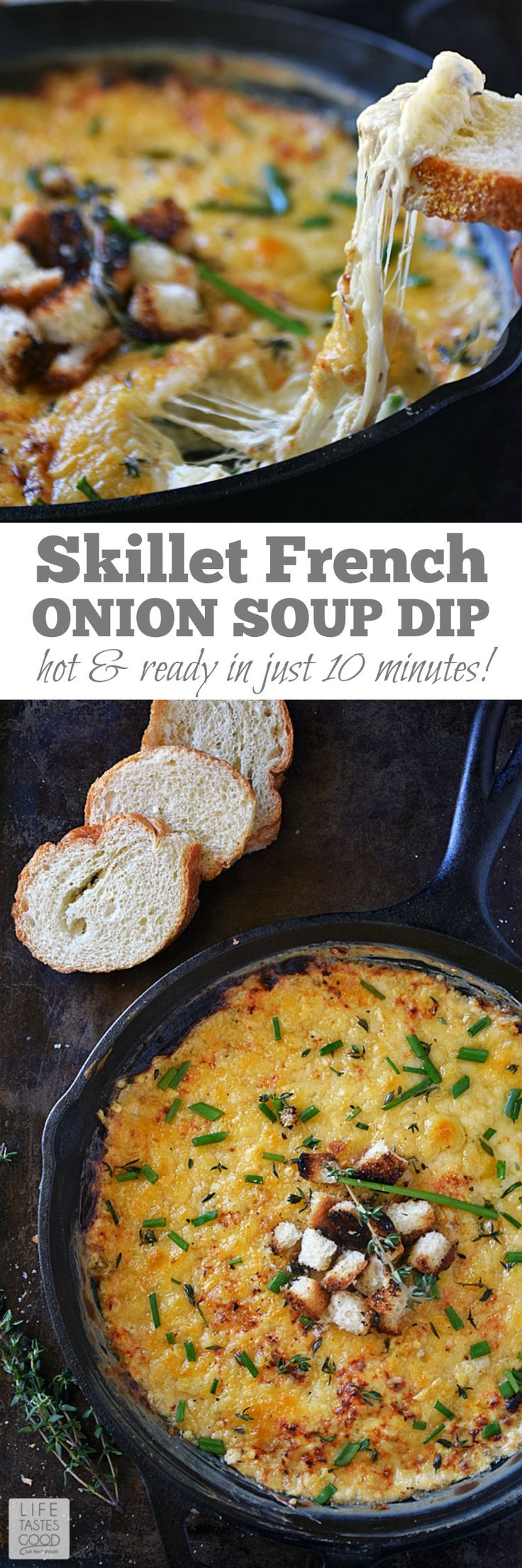 Creamy, cheesy, and savory, Skillet French Onion Soup Dip | by Life Tastes Good tastes like classic French Onion Soup and is so easy to make! Mixing the ingredients all in one skillet, while heating, is the key to having it hot and ready in just 10 minutes! This delicious appetizer is a real crowd pleaser! #gamedayrecipes #LTGrecipes #footballappetizers #cheesediprecipes #frenchonionsoup