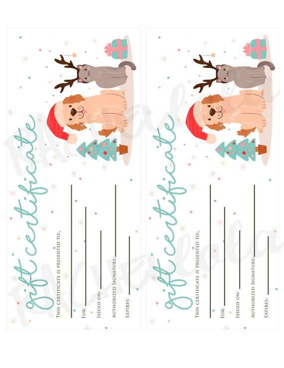 Christmas Pet printable Gift Certificate template, Dog, Cat, Groomer thank you g… – Products