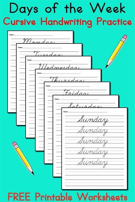 7 Days Of The Week Cursive Handwriting Worksheets
