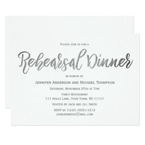 elegant silver gray white rehearsal dinner invitation in 2018 my
