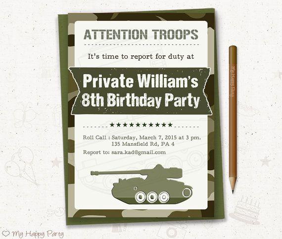 112 best kids birthday invitation images on pinterest birthday army birthday invitation soldier birthday party boy birthday invitation camo invitation army stopboris Images