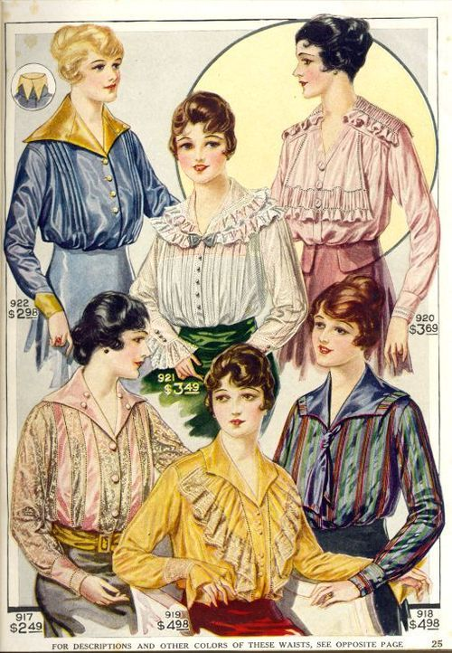 Kittyinva: 1916 Fall blouses from an unknown catalog.