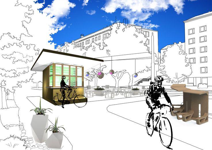 Cycle in -lippakioski //  Helsingin katukuvasta tutut lippakioskit toimivat virkistyskeitaina pyöräteiden varsilla. Cycle in -lippakioski suunniteltiin palvelemaan etenkin työmatkapyöräilijöiden tarpeita. Kioskilta voi paitsi napata mukaan evästä, myös huoltaa pyörää tai tarkistaa reitin karttapalvelusta. Esimerkkinä käytetään Munkkiniemen lippakioskia.   // Suunnittelijat : Janne Könönen, Minni Sirelä ja Anna Wallenius