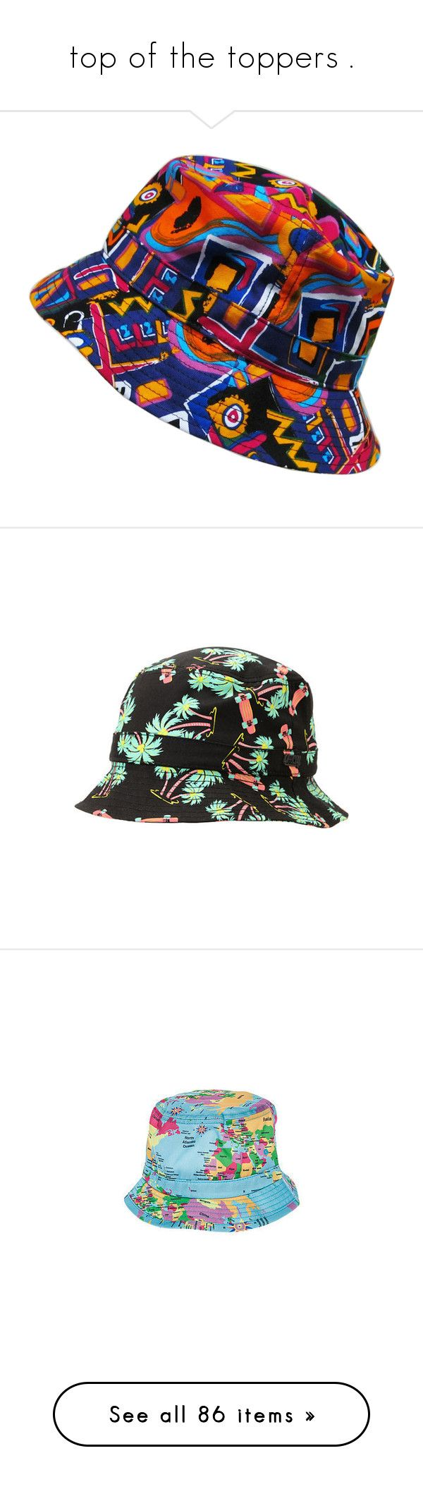 """top of the toppers ."" by lipstickk-junkiee ❤ liked on Polyvore featuring accessories, hats, bucket hat, floral print hat, floral fisherman hat, floral hat, cap hats, bucket hats, hats // etc and hawaiian hats"