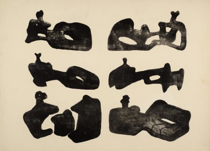 "commonorgarden:  """"Six Reclining Figures in Black, Henry Moore, 1963  "" """