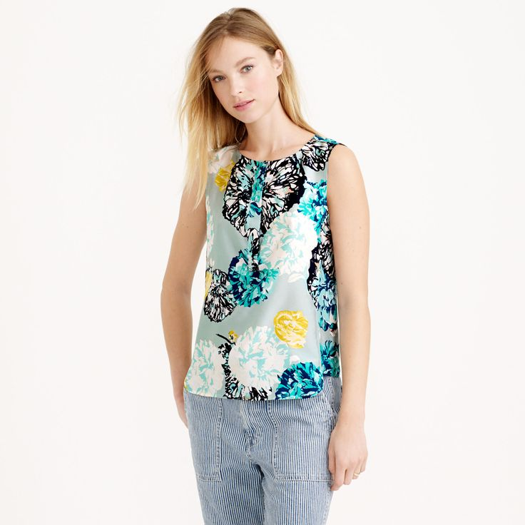 Sleeveless silk shell in aquatic floral : tops & blouses | J.Crew