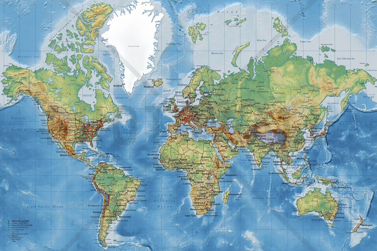 Wereldkaart - World Map Detailed - Fotobehang & Behang - Photowall
