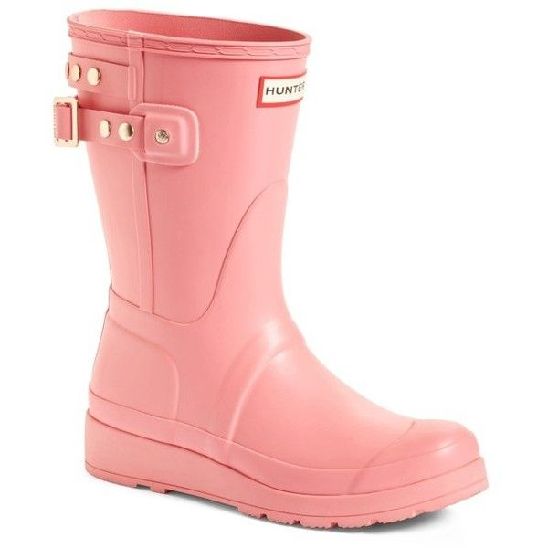Women's Hunter Original Short Adjustable Back Rain Boot (2.560 ARS) ❤ liked on Polyvore featuring shoes, boots, ankle booties, panther pink, short rain boots, pink booties, studded rain boots, pink rain boots and wellies boots