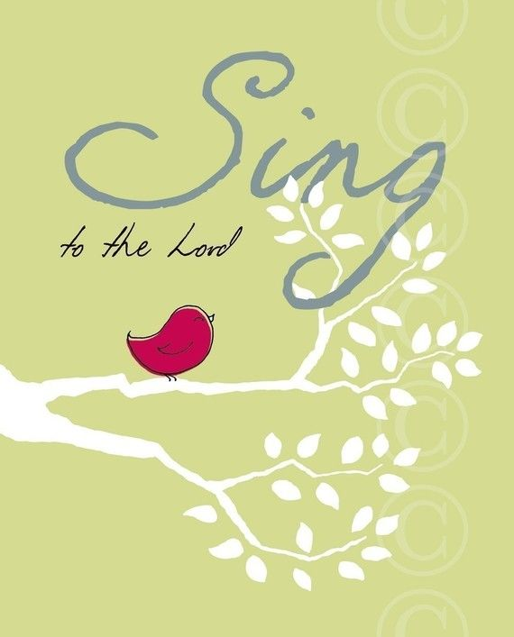 Sing to the Lord Christian Art  green art print by jeannewinters, $21.00