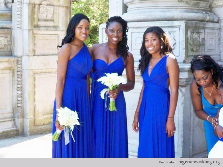 Nigerian Wedding Wrap Convertible Cobalt Blue Bridesmaids Dresses Planning Pinterest Wraps Weddings And