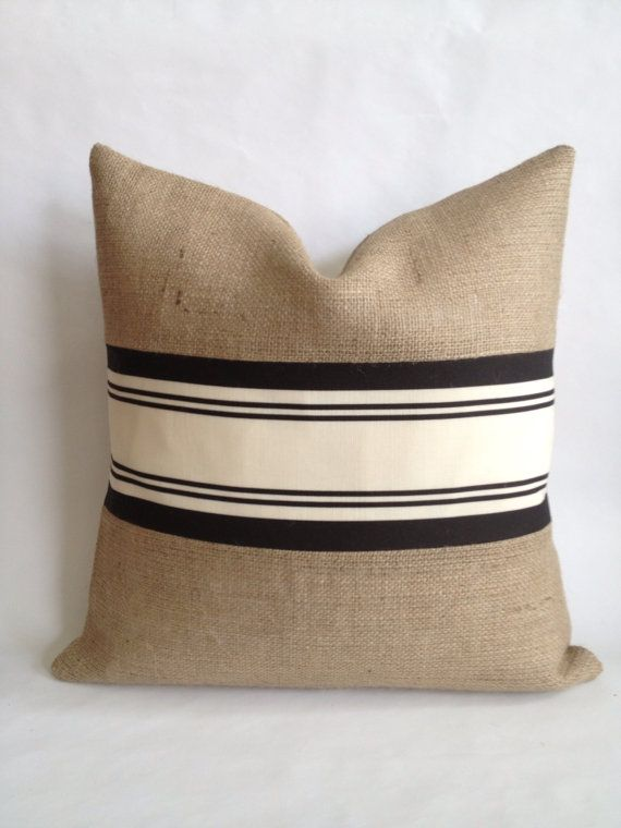 Balmoral Linen Stripe Fabric by Schumacher and Burlap Pillow Cover