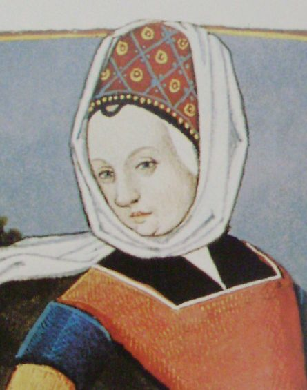 C15th Image of a Hennin worn by a woman with a distaff