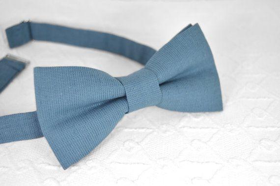Blue bow tie dusty blue bow tie linen bow tie by MrFoxBowTies