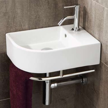 Temoli Cloakroom Basin, priced at £143.95. The Temoli cloakroom basin complete with towel rail. With its stylish rectangular design with rounded corner, this basin is ideal for corner fitting. Order now at - http://www.betterbathrooms.com/bathroom-suites/cloakroom-basins/temoli-cloakroom-basin/