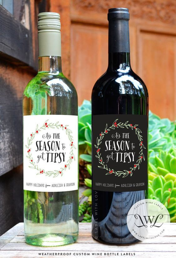 Custom Holiday Christmas Wine Labels Unique by LabelWithLove: